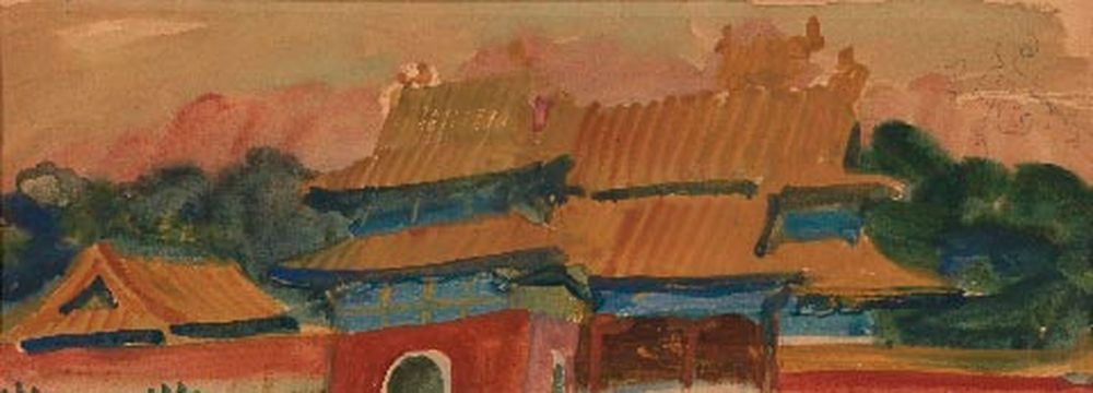 ALEXANDER YAKOVLEV (1887-1938) - Pagoda Roofs Gouache and watercolout on paper 13.5 [...]