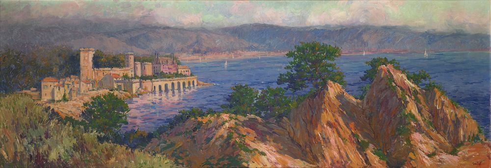 Alexandre ISAILOFF (1869-?) - Town by the Mediterranean sea signed 'Iailoff' (lower [...]