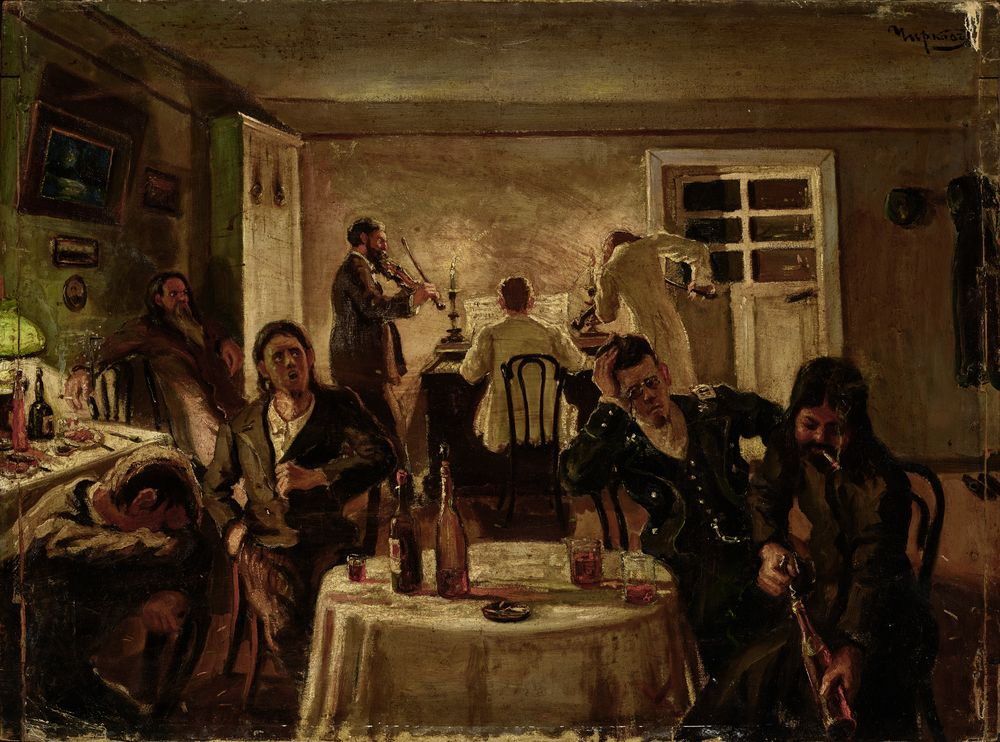 Alexandr Innokentievich Chirkov (1865-1913) - Night gatherings signed in Cyrillic [...]