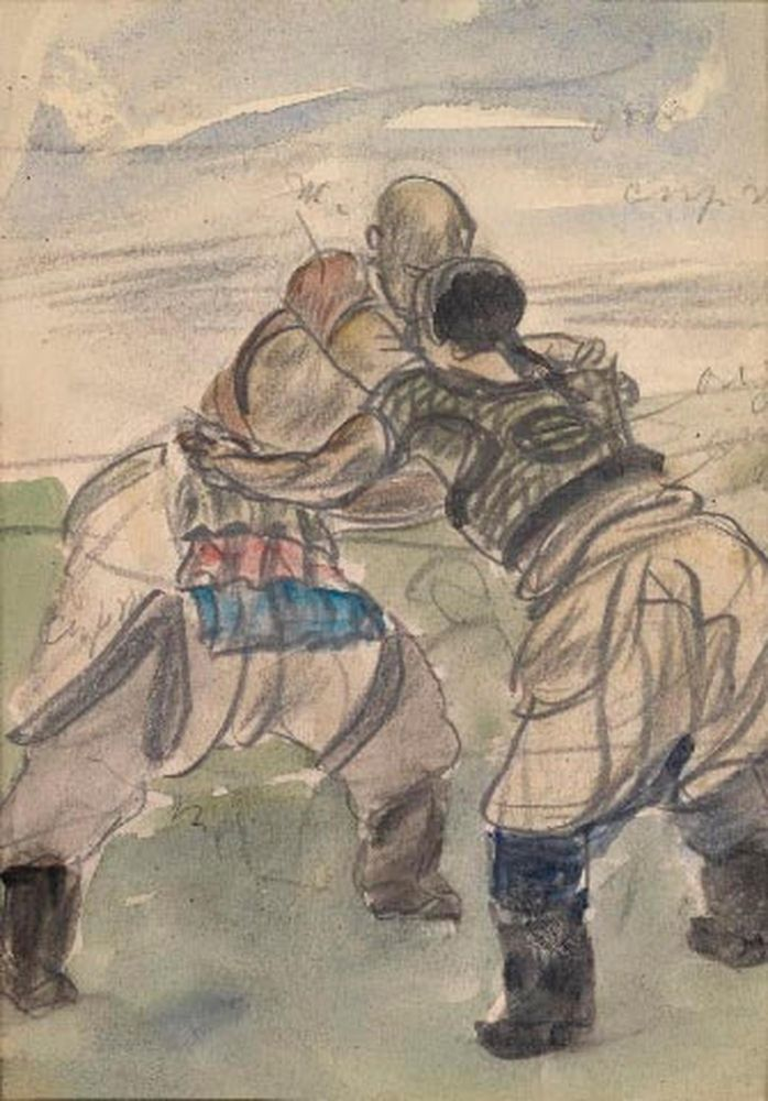 ALEXANDER YAKOVLEV (1887-1938) - Two sketches of Chinese Wrestlers Each variously [...] - Bild 2 aus 2