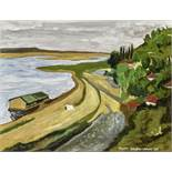 Pyotr Gavrilovich. - Ukrainian landscape with river and village. signed in [...]
