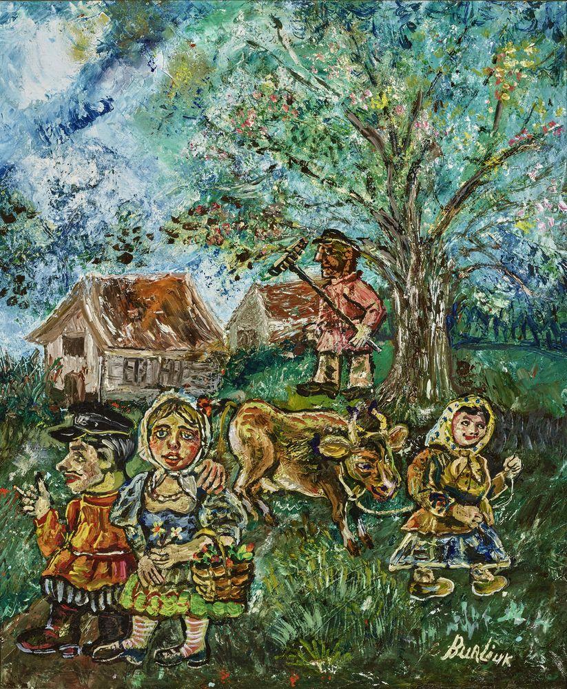David Burliuk (1882 – 1967) - Russian peasants in spring signed 'Burlyuk' (lower [...]
