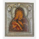 """A Russian icon """"The Vladimir Mother of God"""" in a silver-gilt oklad Veliky Novgorod, [...]"""