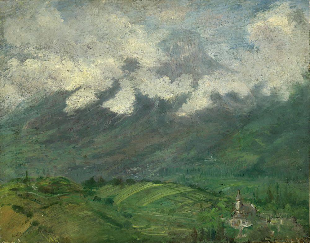 Constantin Kousnetsoff (1863–1936) - Clouds on the mountain signed 'Kounetsoff [...]