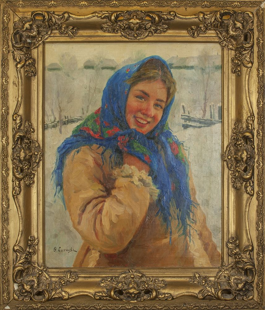 Fedot Vasilievich Sychkov (1870-1958) - Girl With Scarf Signed in Cyrillic 'Ф. [...] - Bild 2 aus 2