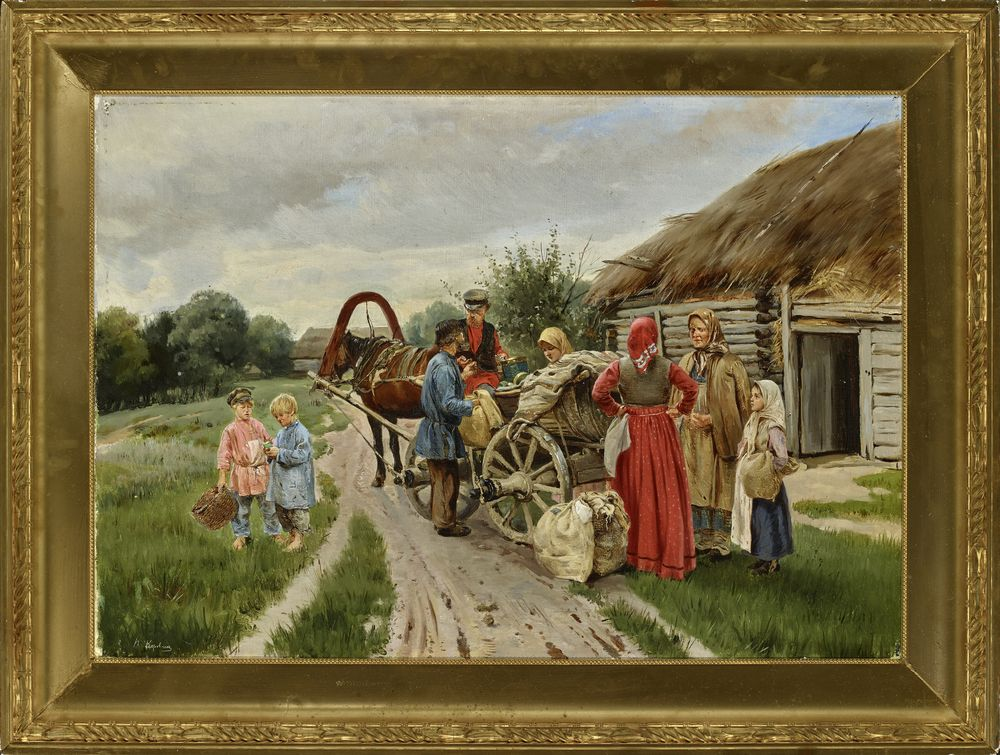 Pyotr Ivanovich Korovin (1857-1919) - At The Village Signed in Cyrillic 'P. [...] - Bild 2 aus 2
