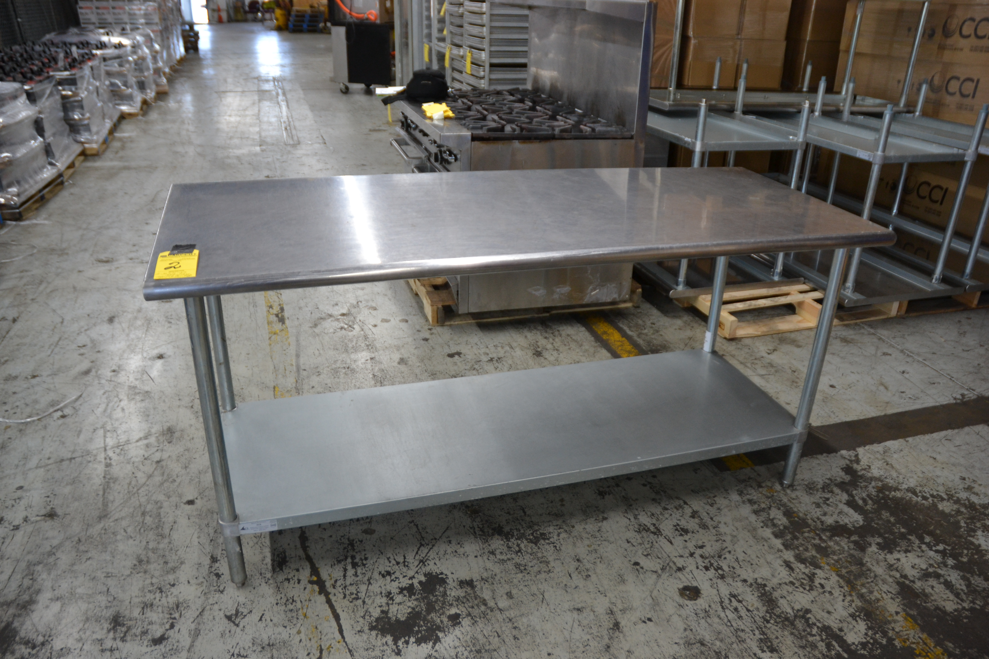 "Lot 2 - 30"" x 72"" Stainless Steel Prep Tables"