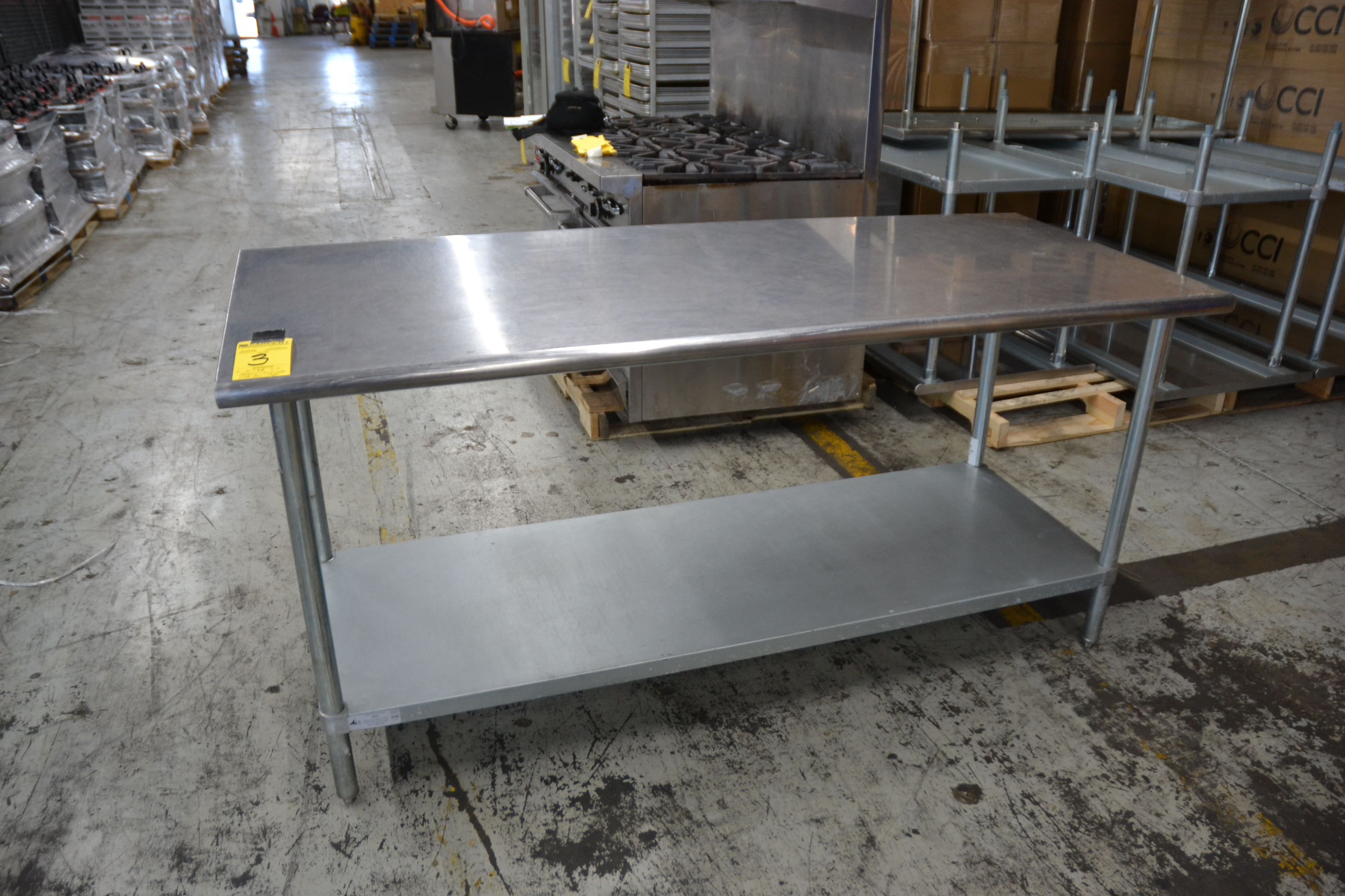 "Lot 3 - 30"" x 96"" Stainless Steel Prep Tables"