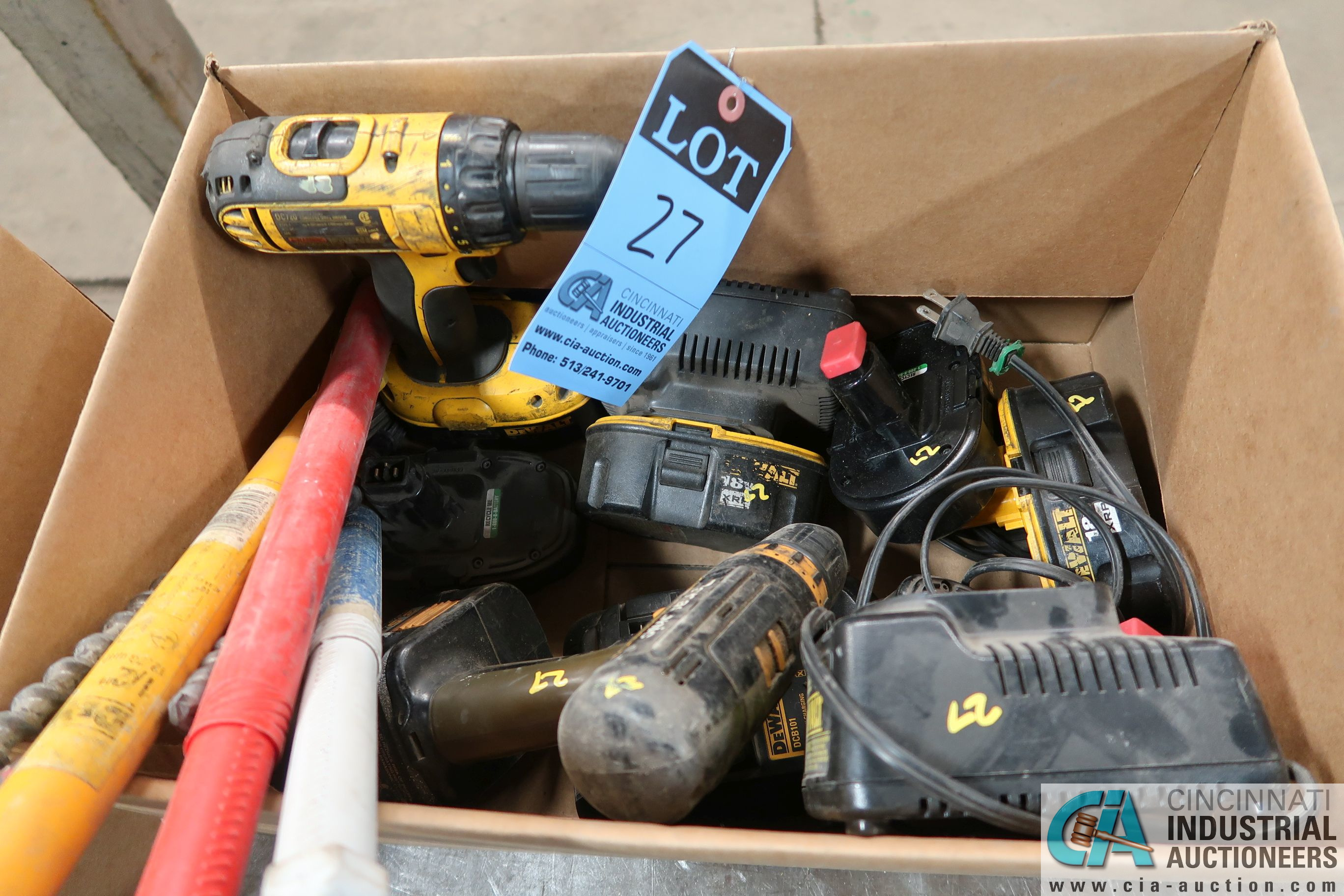 "(LOT) DEWALT CORDLESS TOOLS, BATTERIES, AND CHARGERS INCLUDING (2) 1/2"" DRILLS"