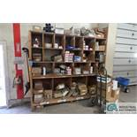 (LOT) ASSORTED HARDWARE IN WOOD RACK: BOLTS, HANGERS, STEEL PLATES, AND OTHER ** NO RACK **