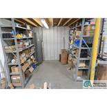 """(LOT) 4-SECTIONS 18"""" X 36"""" SHELVING WITH CONTENTS - HARDWARE AND 2-DOOR CABINET WITH CONTENTS, AIR"""