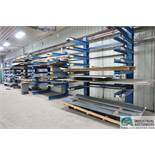 (LOT) CONTENTS OF 5 BLUE CANTILEVER STORAGE RACK; SHEETS OF UNUSED FLAT STOCK, MOSTLY GALVINZED WITH