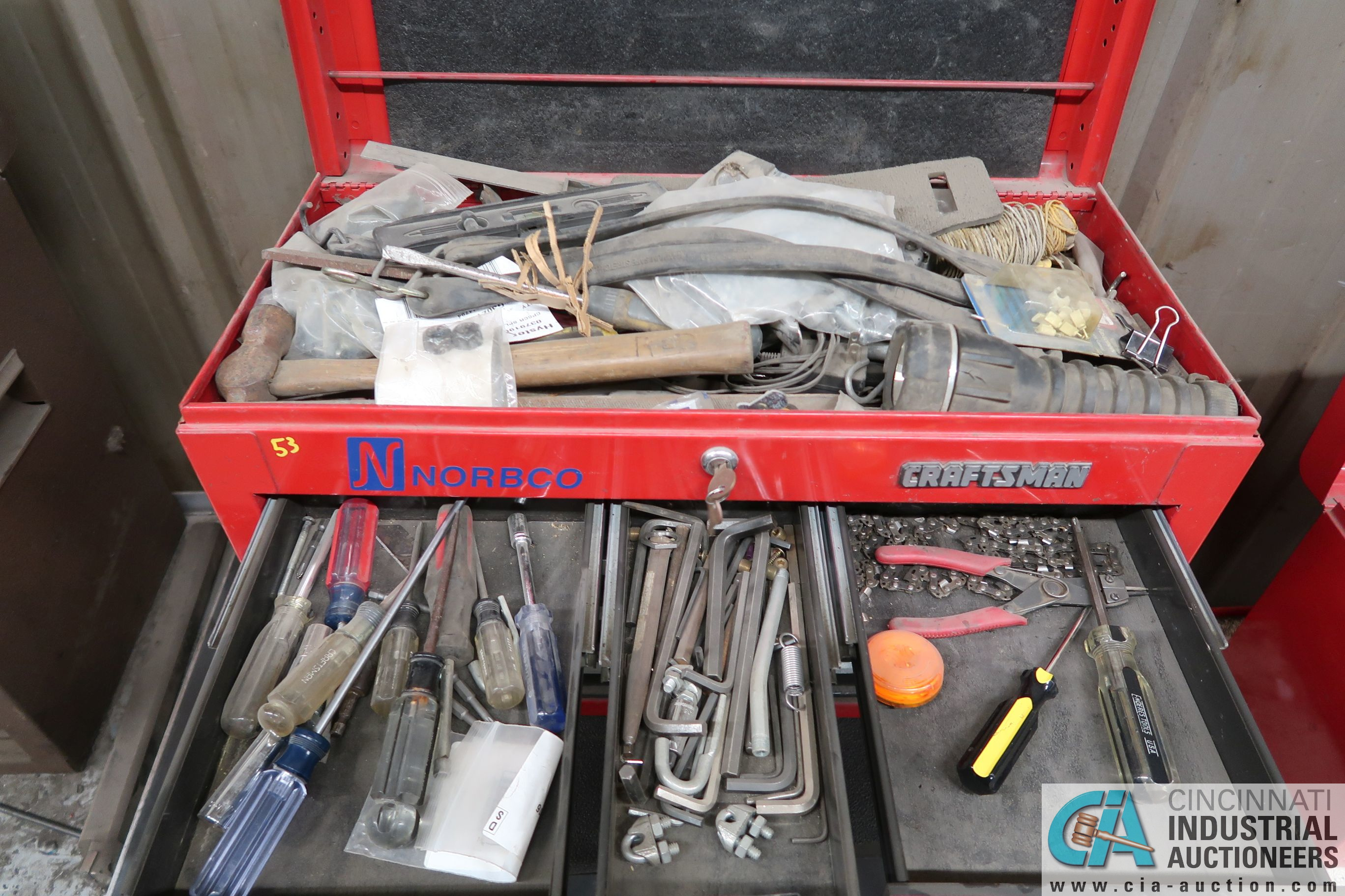 6-DRAWER CRAFTSMAN TOOL BOX WITH TOOLS AND CART - Image 2 of 5