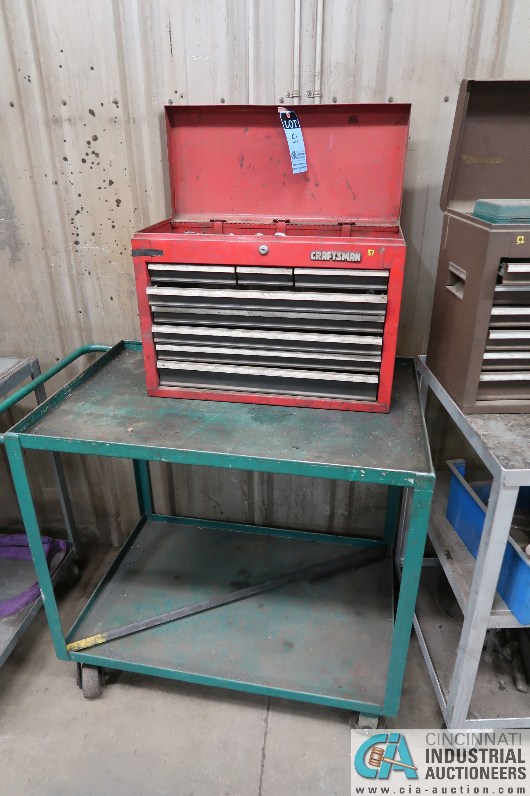 8-DRAWER CRAFTSMAN TOOL BOX WITH TOOLS AND CART