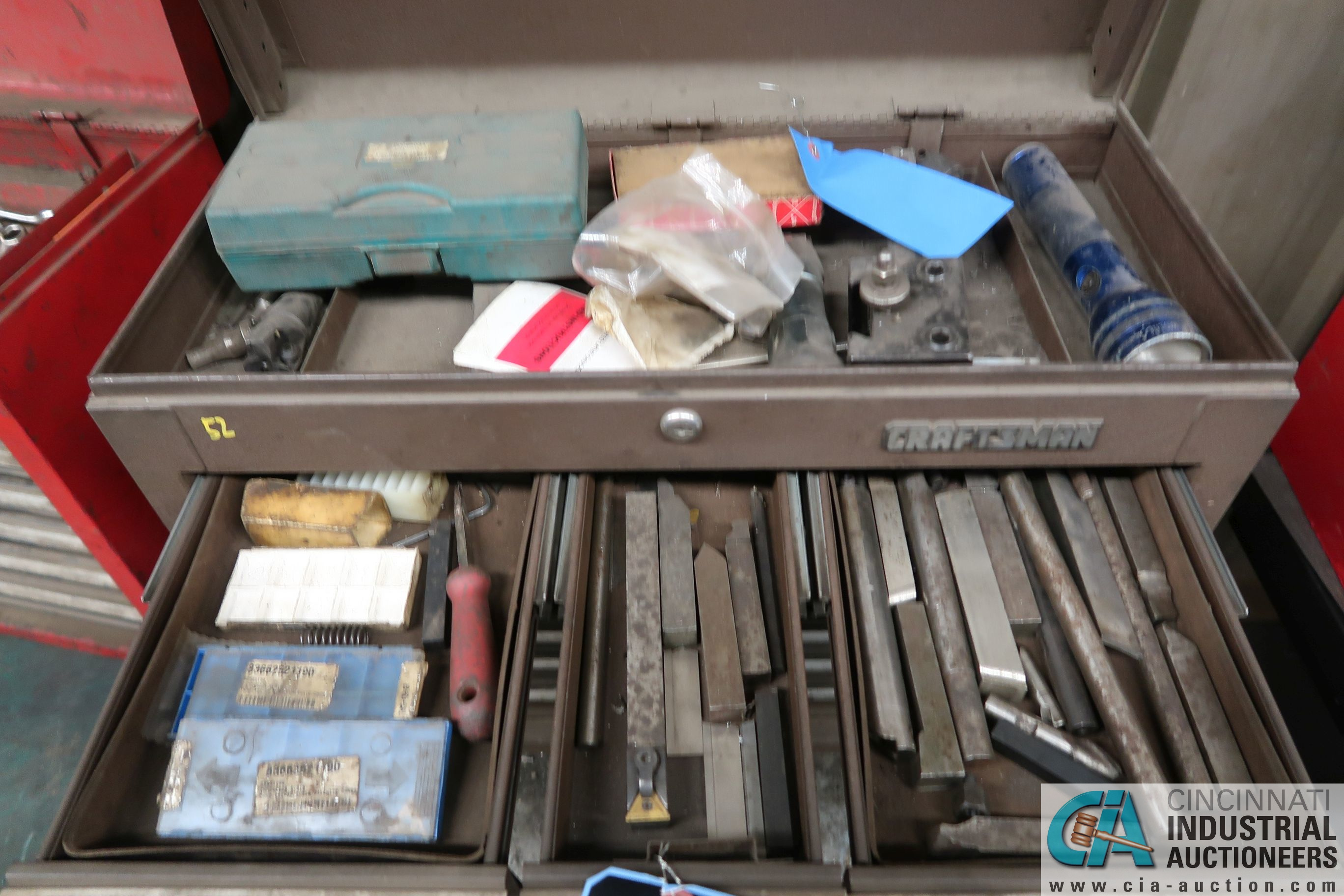 8-DRAWER CRAFTSMAN TOOL BOX WITH TOOLS AND CART - Image 2 of 4