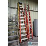 (LOT) 12' BAUER AND 10' LOUISVILLE FIBERGLASS LADDERS