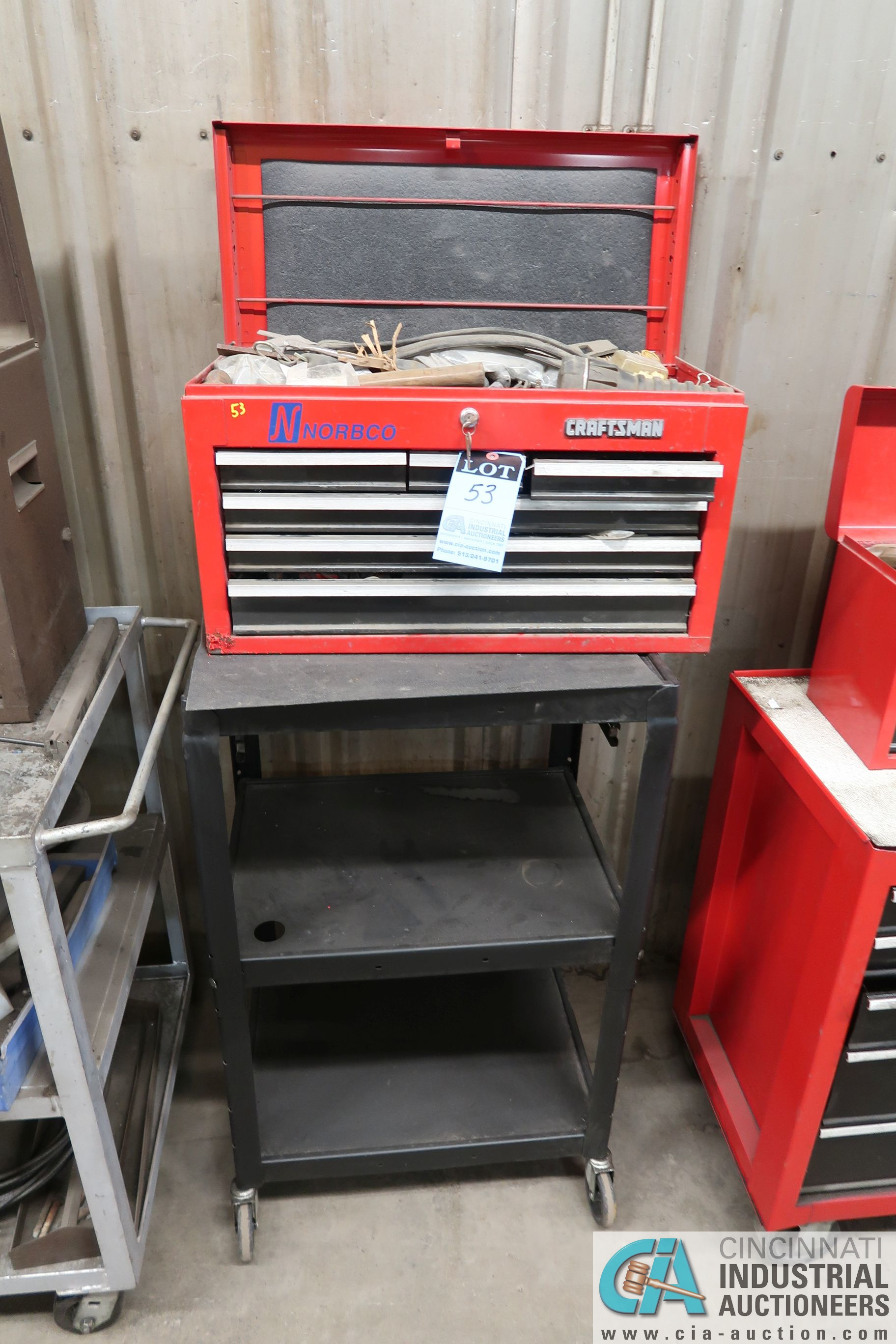6-DRAWER CRAFTSMAN TOOL BOX WITH TOOLS AND CART