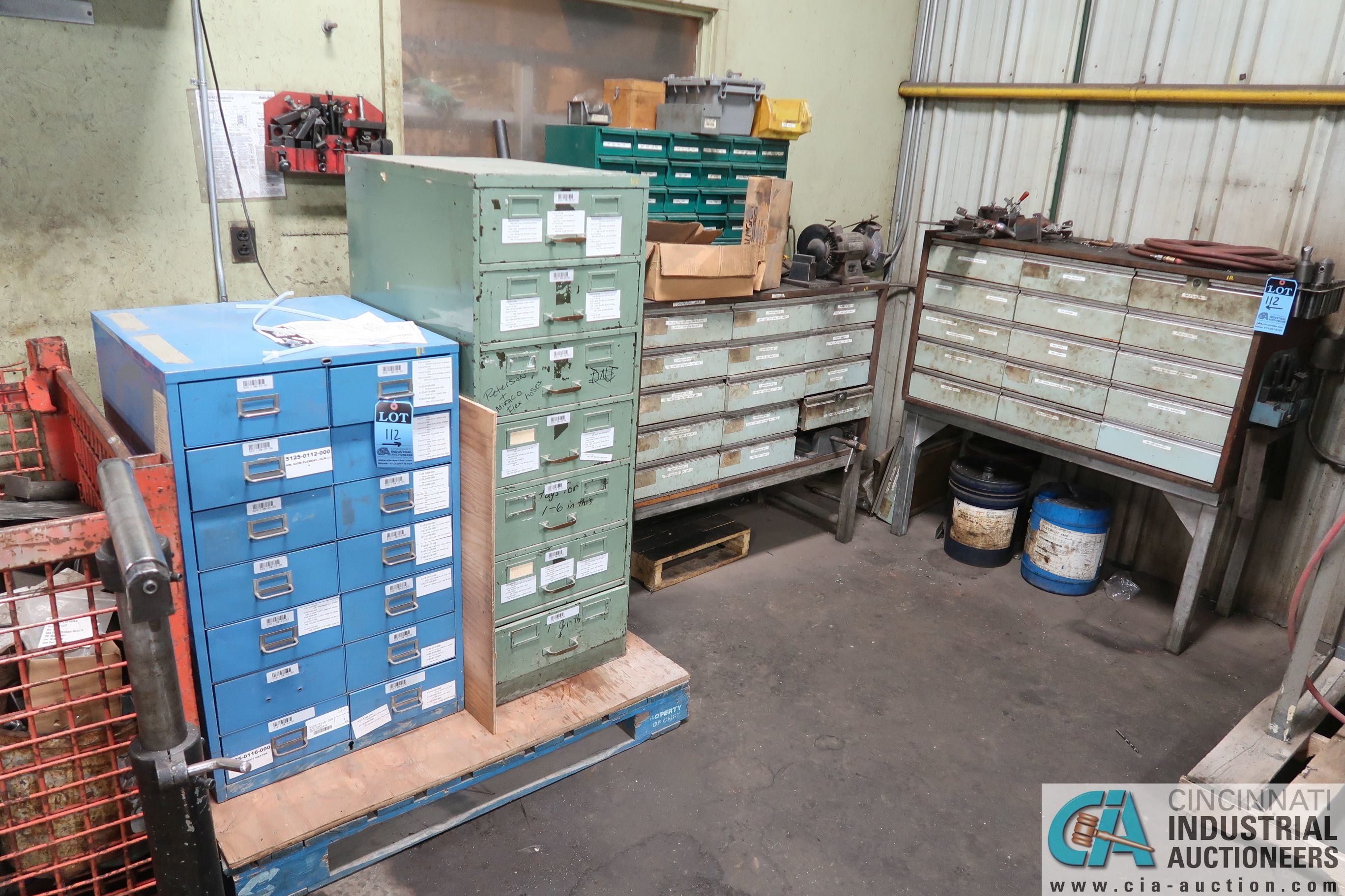 CABINETS WITH MISC. TOOLING, PARTS, HOLD DOWNS