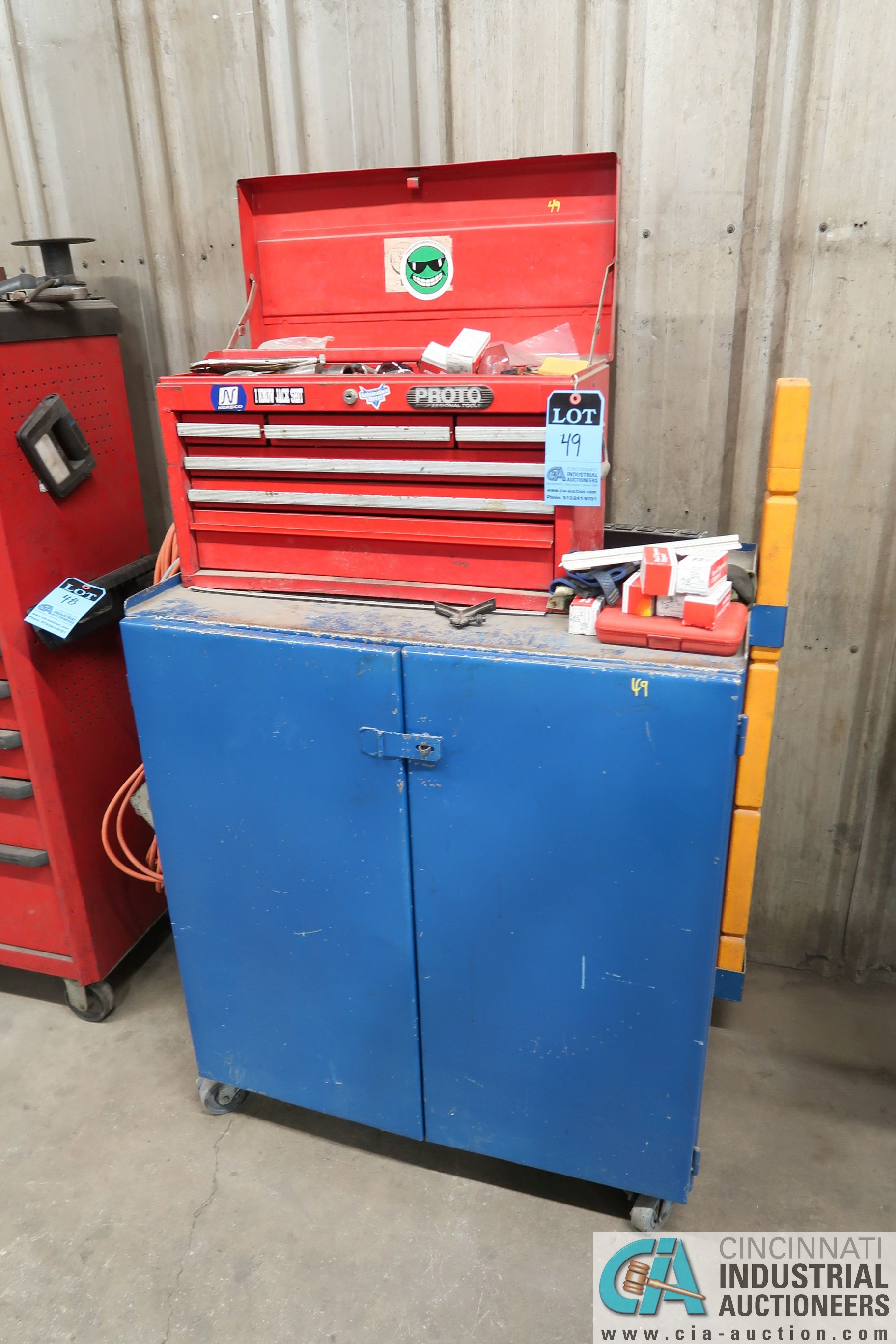 (LOT) 6-DRAWER TOOL BOX WITH PORTABLE 2-DOOR CABINET AND TOOLS