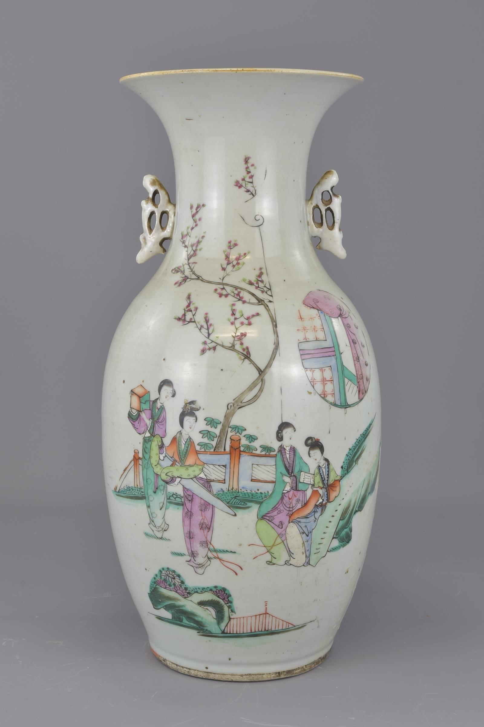 Lot 28 - A Chinese Republican period famille-rose porcelain vase. 43 cm tall.