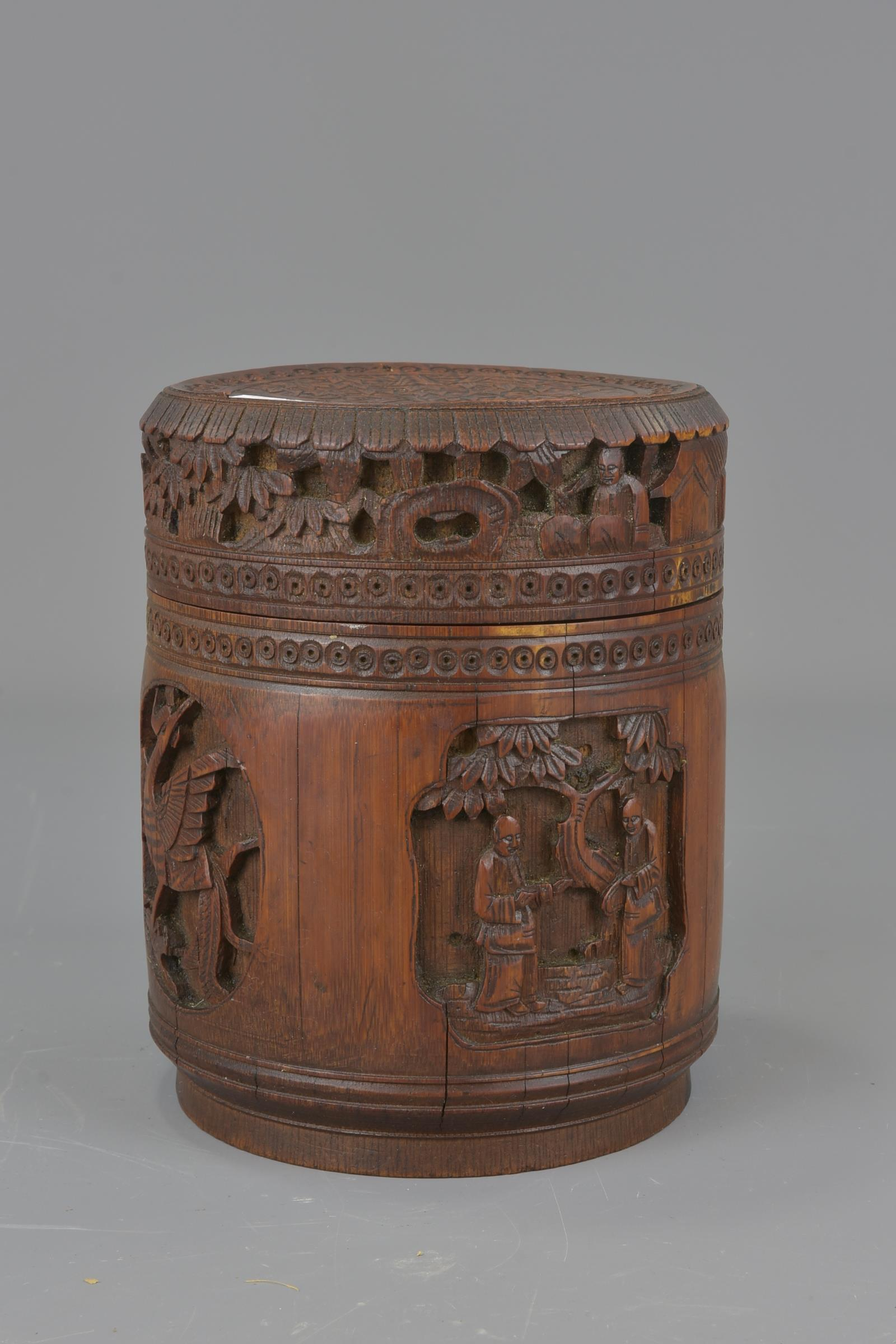 Lot 60 - A Chinese early 20th century bamboo tea caddy. 13cm x 16cm