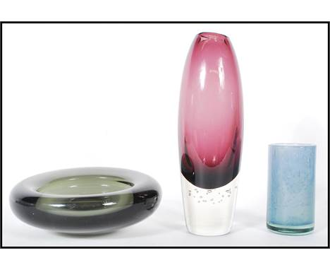 Scandinavian  glass - A group of three pieces of 1960's / 70's retro vintage studio glass to include a Danish Holmegaard