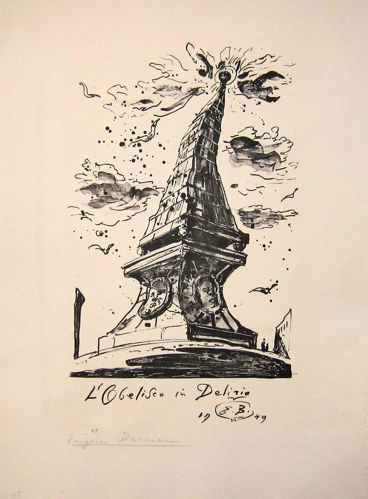 Lot 52 - EUGENE BERMAN [1899-1972]. Obelisk in Delirio, 1949. lithograph, edition of 25, artist's proof.