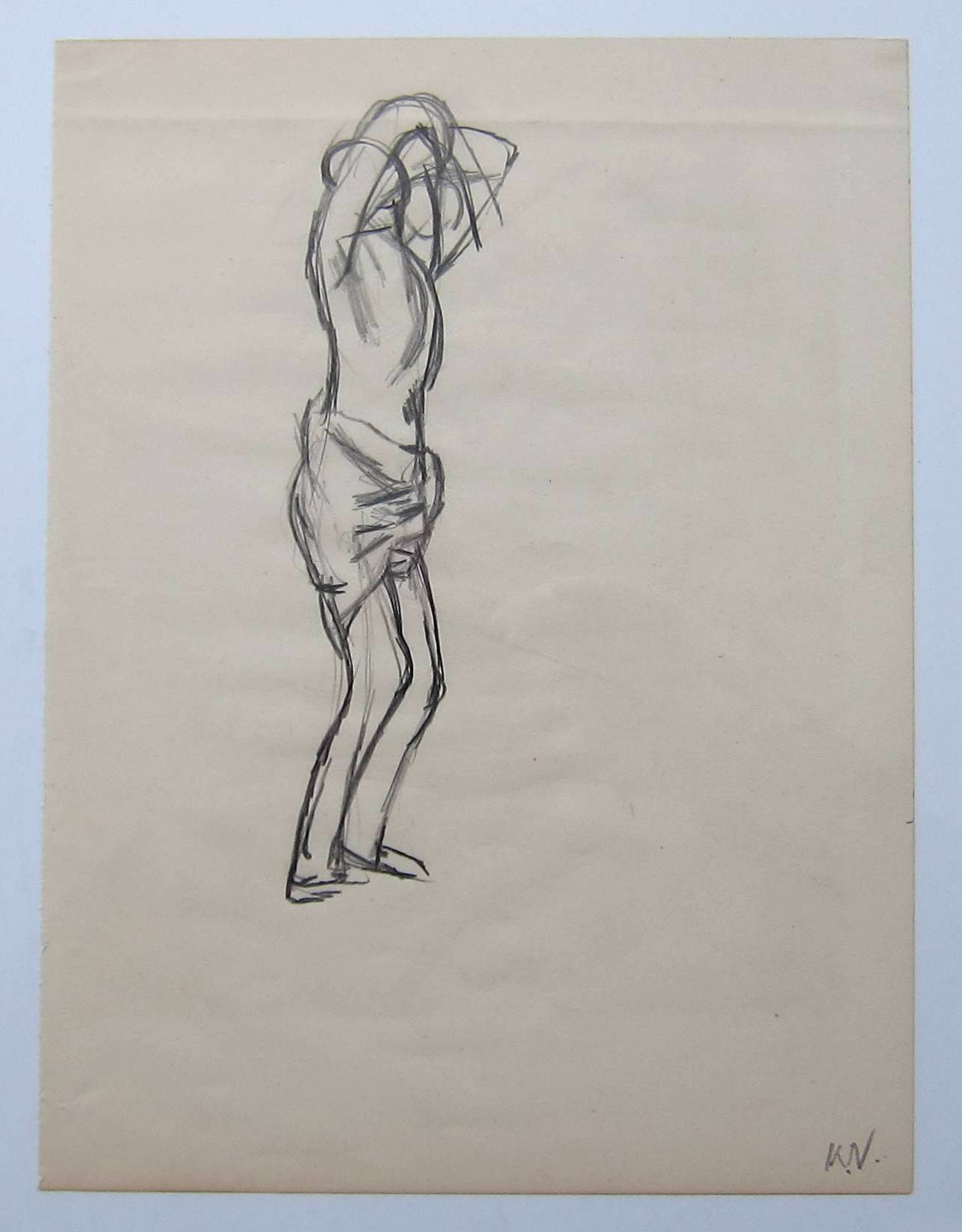 Lot 58 - KEITH VAUGHAN [1912-77]. Standing Figure with Arms Raised. pencil drawing. initials bottom right .