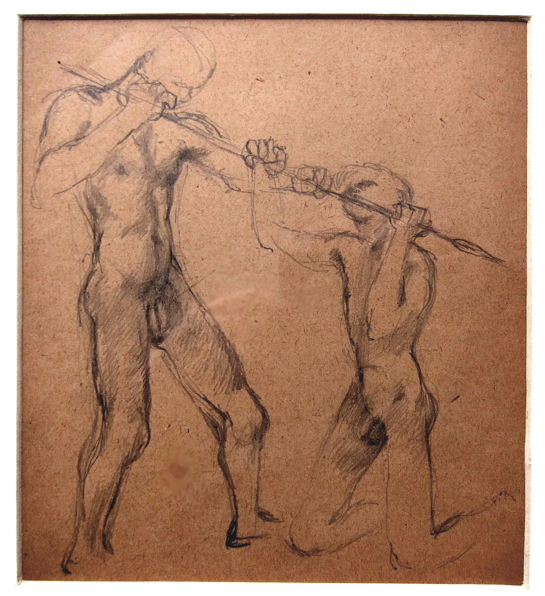 Lot 59 - KEITH VAUGHAN [1912-77]. Two Men and a Spear, c.1943. pencil drawing on brown paper. 20 x 18 cm.