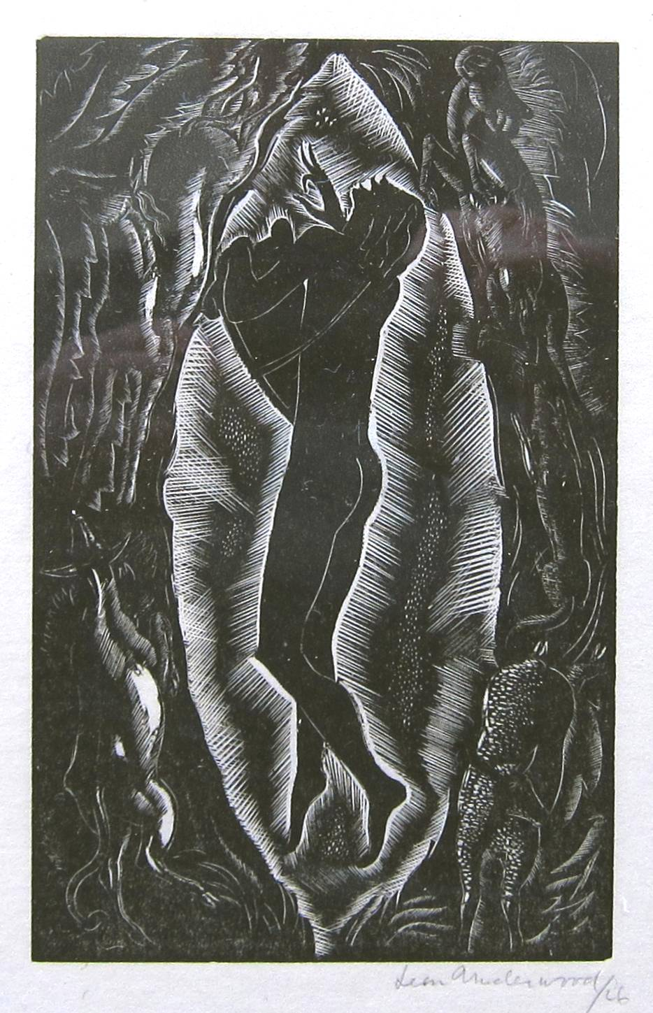 Lot 44 - LEON UNDERWOOD [1890-1975]. Music From Behind the Moon 1V, 1926. wood-engraving, edition of 25 [1/