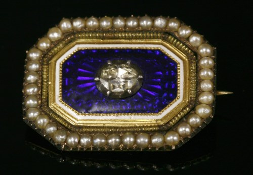 Lot 11 - A Georgian diamond, enamel and seed pearl brooch