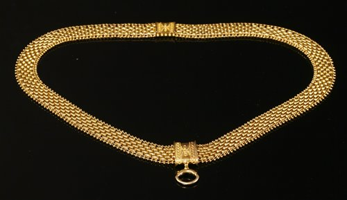 Lot 25 - A Victorian three row panther style necklace,