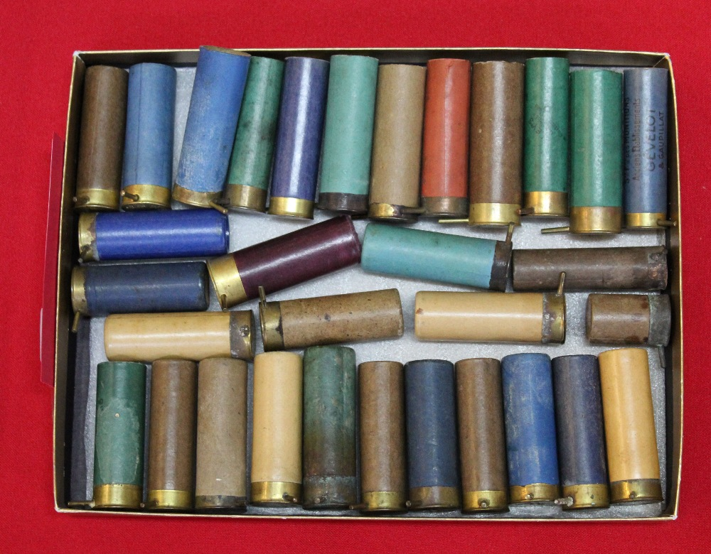 Lot 94 - Approx 22 various pin-fire shotgun cartridges with approx 10 pin-fire unused cases,