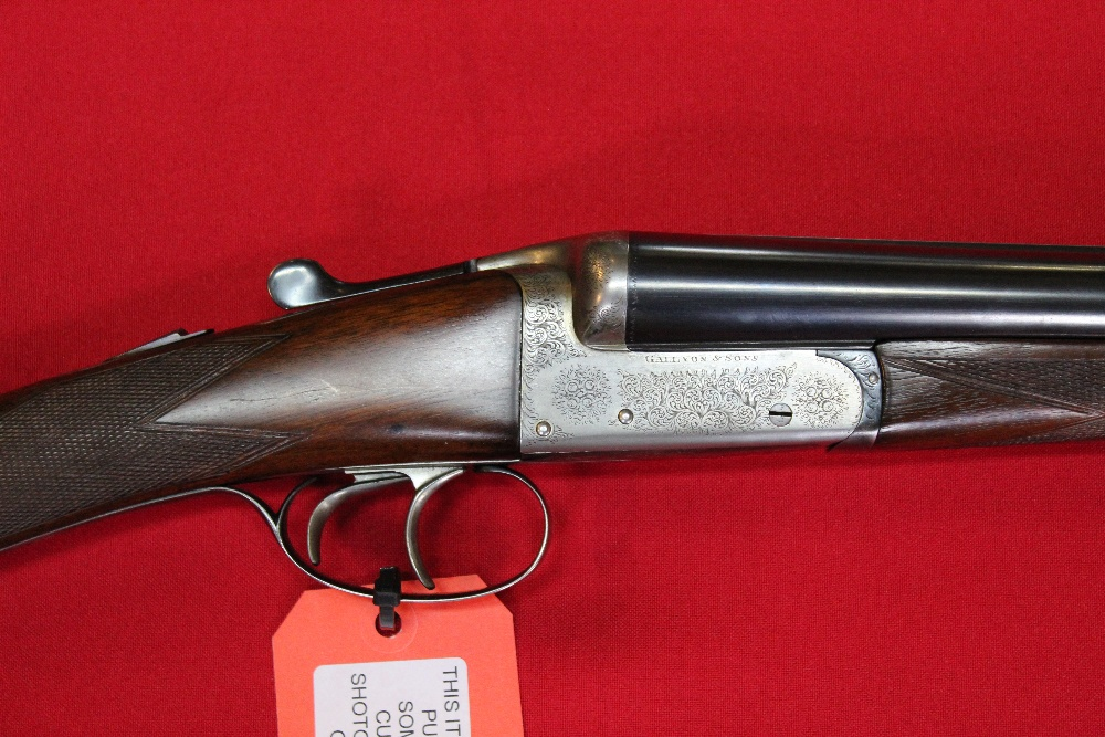 """Lot 114 - A 12 bore side-by-side box lock ejector by Gallyon & Sons, 25"""" barrels with fine bores, S/No."""