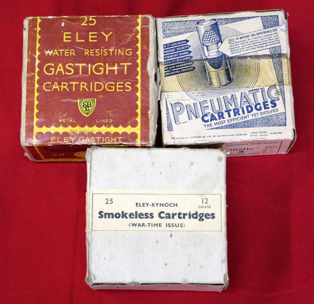 Lot 101 - A box of Eley Gastight cartridges with a box of pneumatic cartridges and a box of (war time issue)