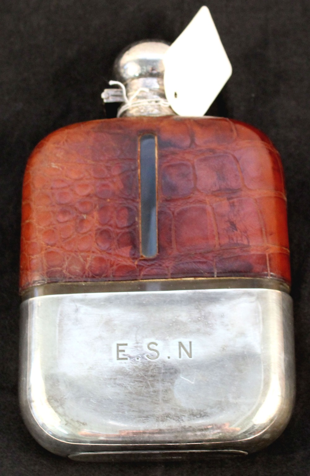 A silver plated hip flask by James Dixon & Sons,