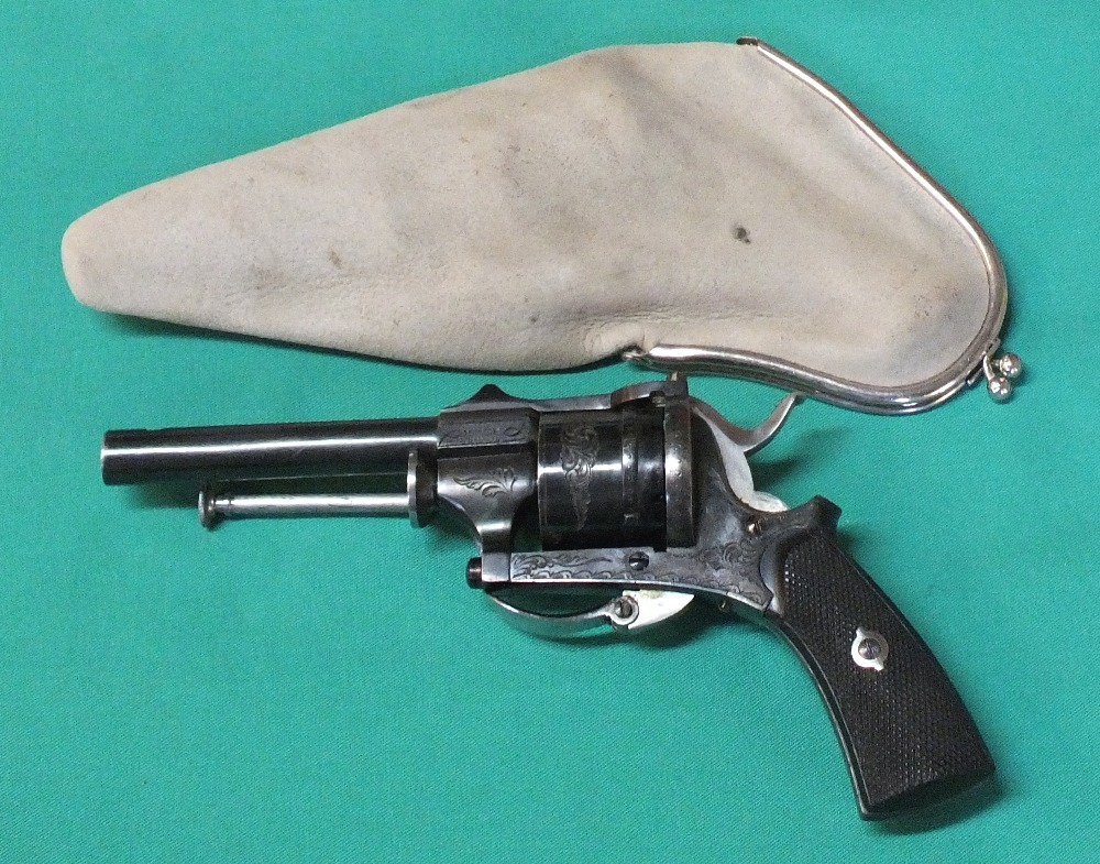 Lot 67 - A six shot 7mm cal pin fire closed frame double action revolver,