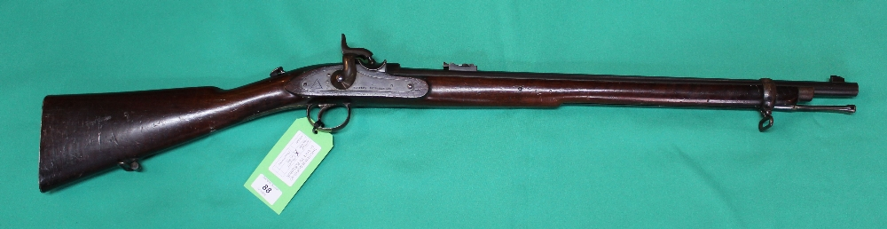 Lot 88 - A Westley Richards & Co 'monkey tail' breech capping carbine in .