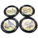 A set of four Victorian 'game bird' pot lids (framed) with four matching Patum Peperium paste lids