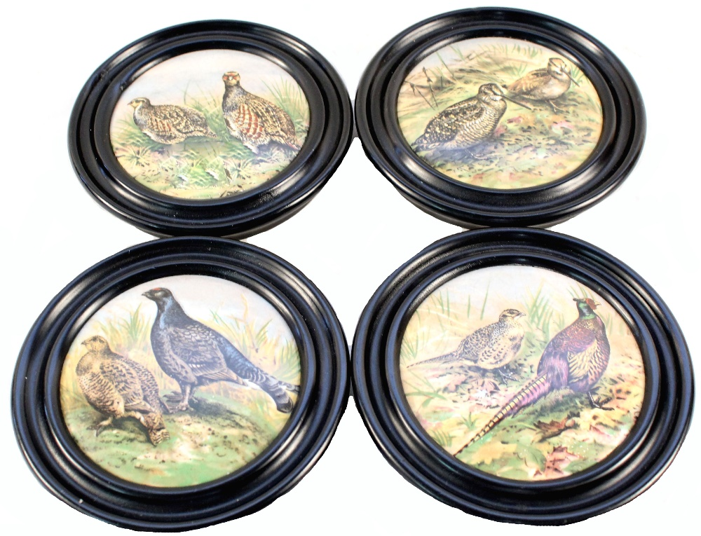 Lot 55 - A set of four Victorian 'game bird' pot lids (framed) with four matching Patum Peperium paste lids