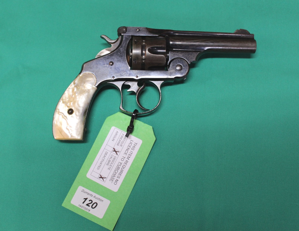 Lot 120 - A Smith & Wesson double action first model revolver in .44 Russian cal, S/No.
