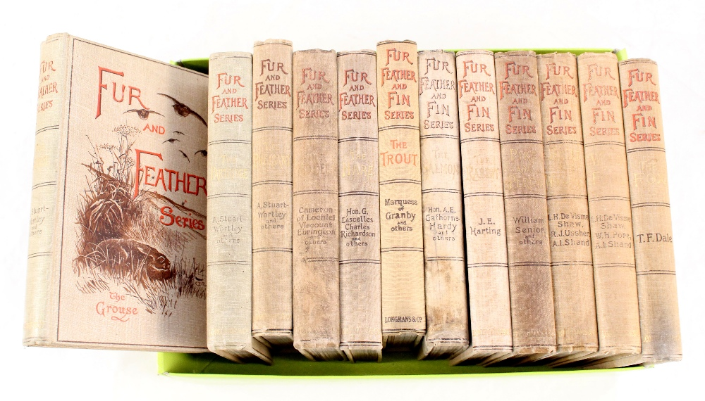 Five volumes of 'Fur and Feather', all dated 1890's with seven volumes of 'Fur Feather and Fin',