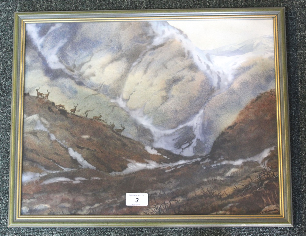 Lot 3 - A Simon Trinder watercolour of stags in landscape, signed lower right, framed and glazed,