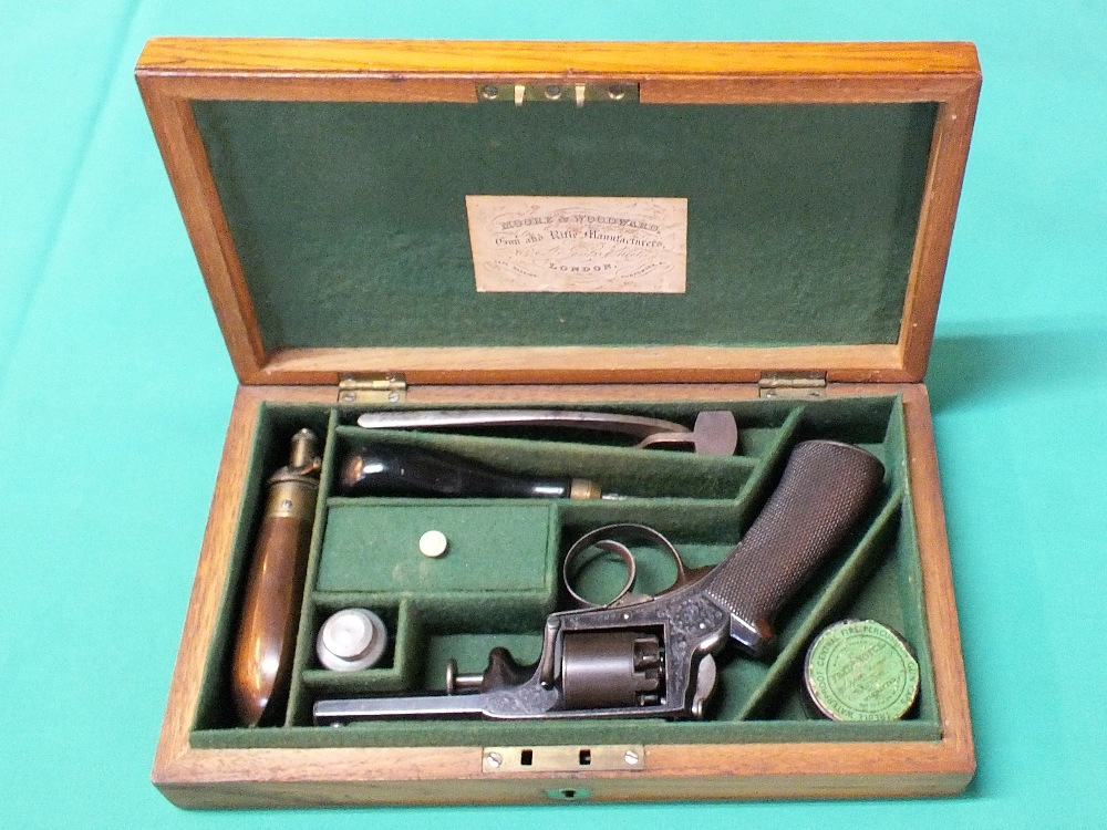 Lot 77 - A cased five shot Adams Patent revolver of approx 140 bore,
