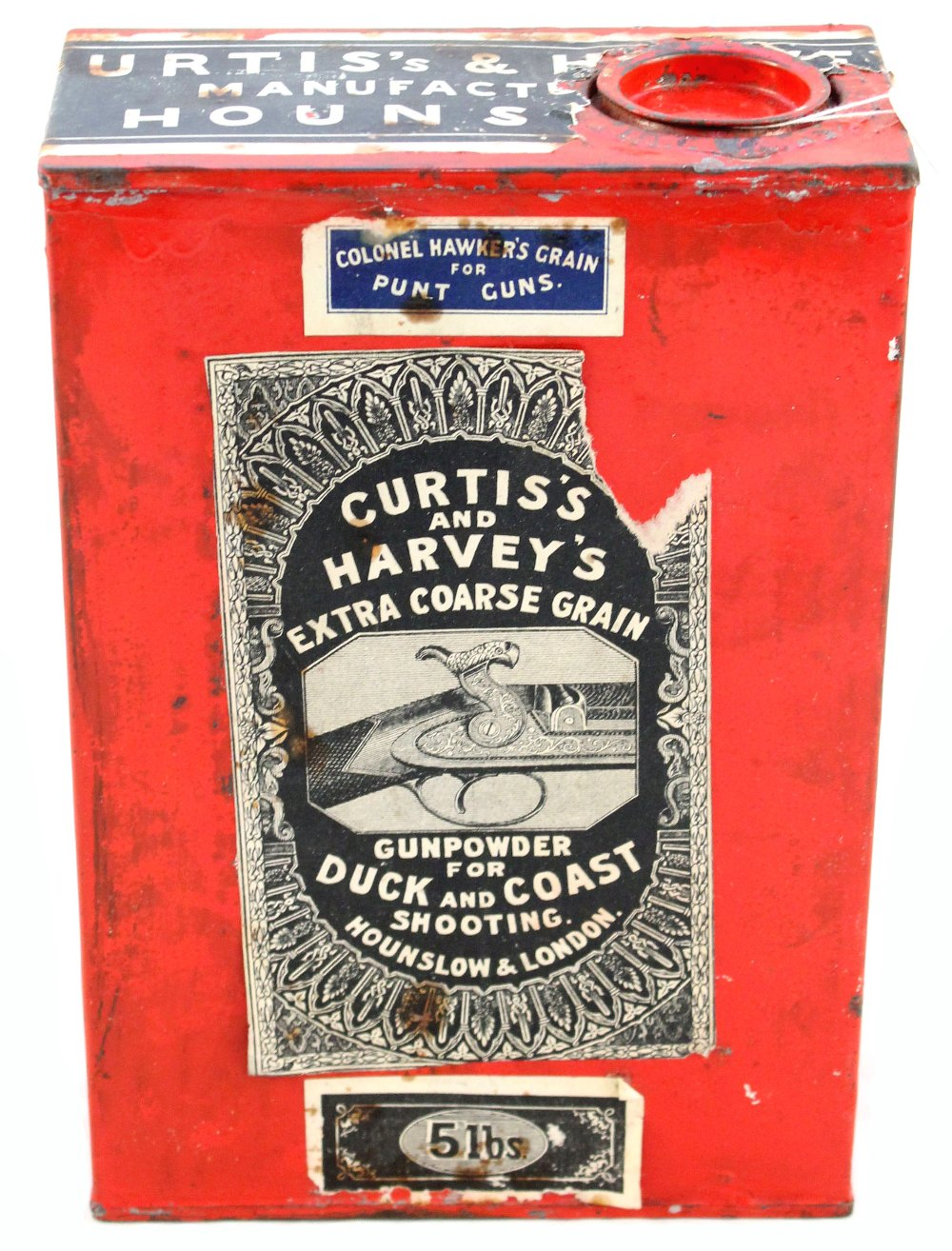 Lot 48 - A Curtis's and Harveys 5lb tin for extra coarse grain gunpowder for duck and coast shooting (empty)