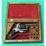 A six shot 7mm cal pin fire double action revolver,