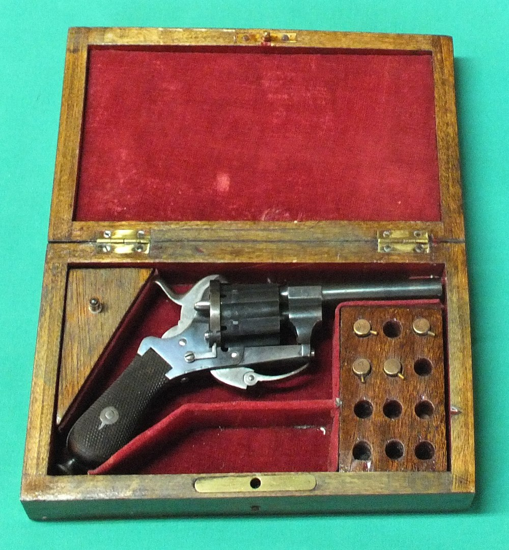 Lot 68 - A six shot 7mm cal pin fire double action revolver,