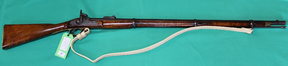 Lot 87 - An 1853 three band Enfield .577 cal rifle, lock marked with Crown over V.R.