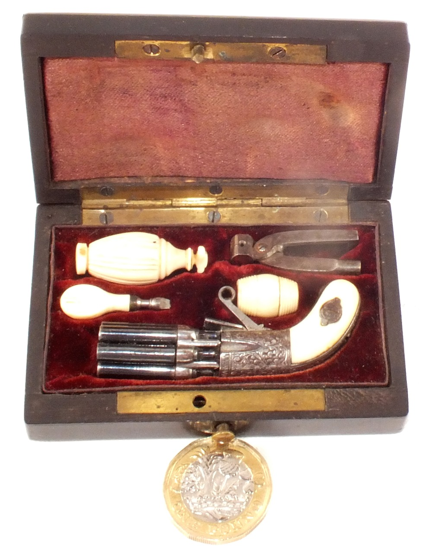 Lot 80 - A period cased miniature pepperbox revolver,