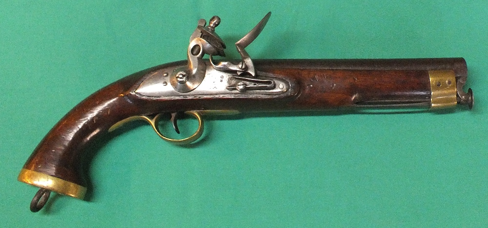 "Lot 71 - A Flintlock holster pistol, 15 1/2"" overall with a 9"" barrel of approx 16 bore with captive ramrod,"